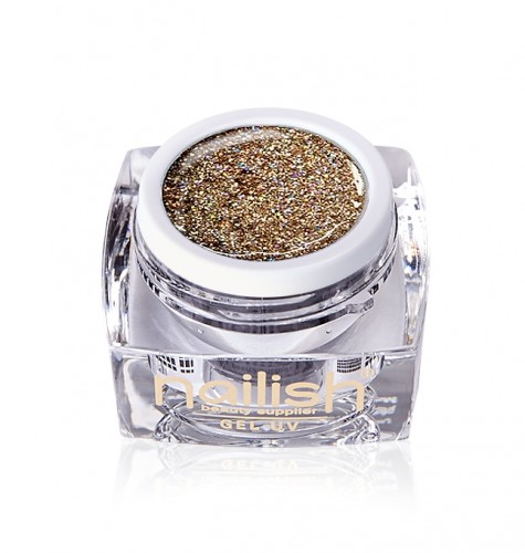 Gel Glitter Crystal Gold, Gel Glitter Sparkling Diamond UV LED Manichiura Unghii