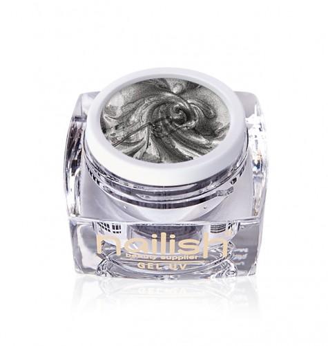 Gel Sweet Bloom Nailish Silver, Nail Art